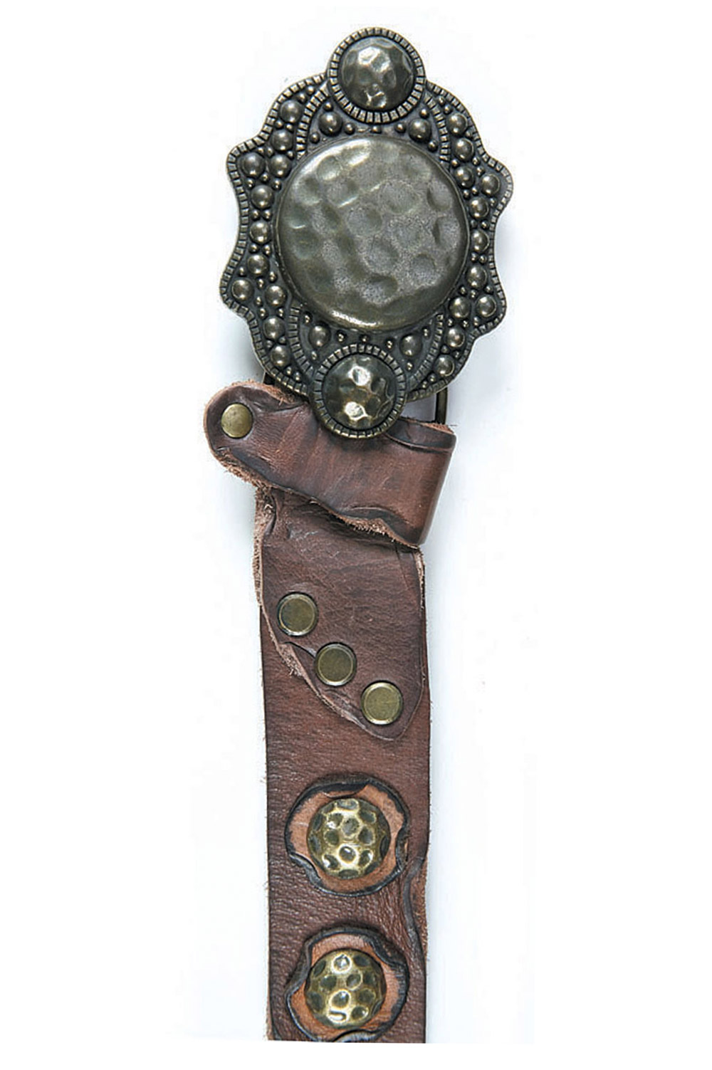 Art Sports Belt from natural dark brown skin with bruised hemispheres - 511954